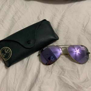 Purple polarized ray ban sunglasses. Flash lens.